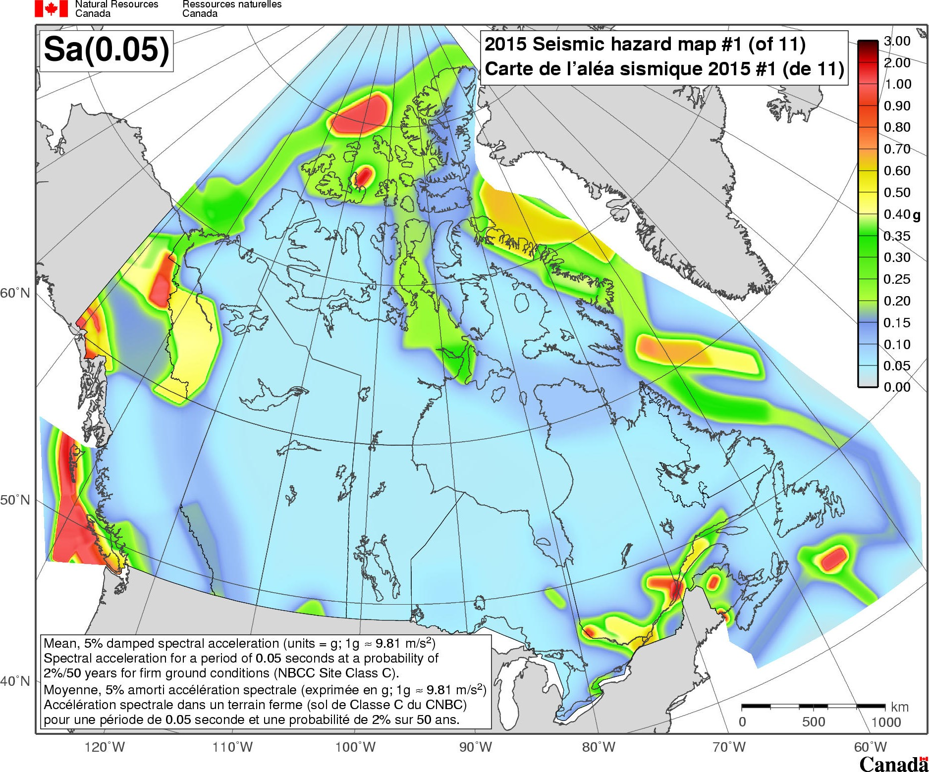 Earthquake Map Of Canada 2015 National Building Code of Canada seismic hazard maps