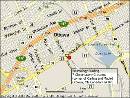 Earthquakes Canada eastern office map - local